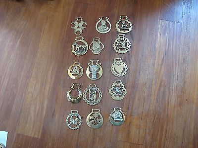 Vintage Brass Horse Harness Bridle Medallions lot of 15