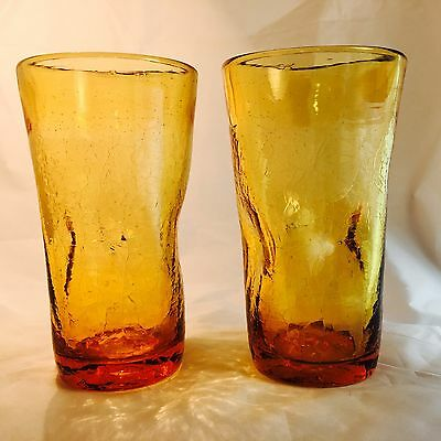 Rainbow Crackle Glass Pinch Amber Gold Tumblers