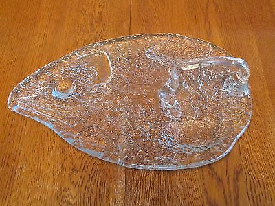 Beautiful Blenko Clear Textured Glass Mouse Shaped Cheese Tray Platter