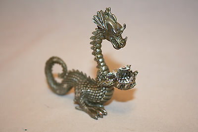 1987 Mini Pewter Mystical Dragon With Crystal Balls