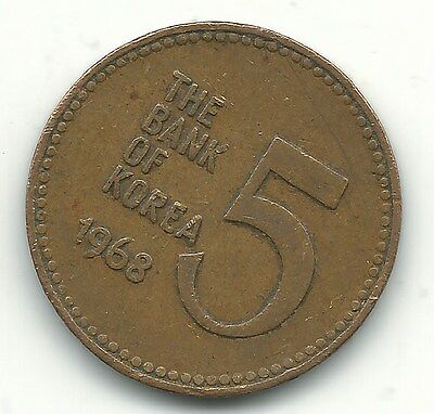 A Vintage Better Grade 1968 South Korea 5 Hwan Coin-Jul250