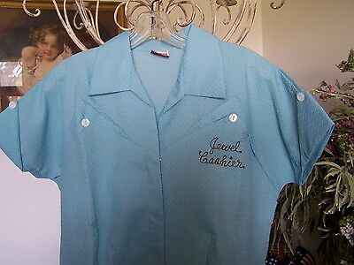 Vintage 50's Jewel Grocery Store Uniform = Blue Cashier Dacron Dress Med.(20)
