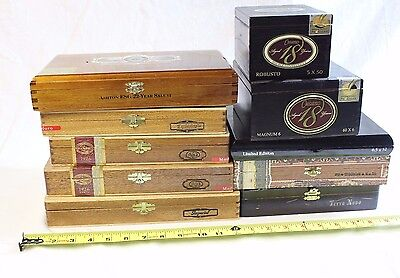 Collectibles Cigar Wood Boxes Lot Of 10 Assorted Padron Ashton