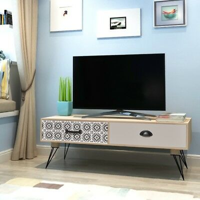 #Entertainment TV Unit Stand Side Table Cabinet 2 Drawers Living Lounge Brown