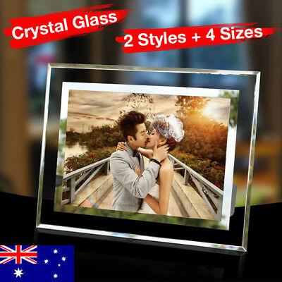 New Crystal Glass Silver Picture Photo Frame 4 Sizes Available Wedding Gift