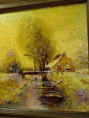 ANTIQUE VINTAGE Signed Dutch Tile: House Water Boat Trees, Snow Winter Landscape