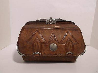 Leather Valise Doctor Bag Train Case Antique Stagecoach Western, Gladstone?