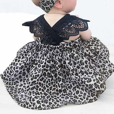 Infant Kids Baby Girls Leopard Lace Romper Tutu Dress + Headband Outfits 0-6Y AU