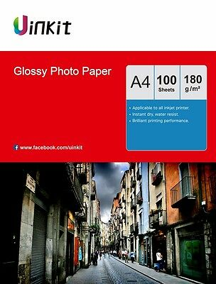 Photo Paper A4 High Glossy 180Gsm Inkjet Printer Paper 100 Sheets Uinkit