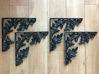 "4 Large Vintage Cast Iron Shelf Brackets 12"" Ornate Oak Leaf Acorn Architectural"