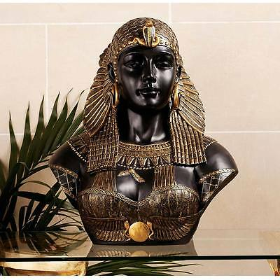 Queen Cleopatra Neoclassical Sculptural Bust Life-Size Polished Basalt