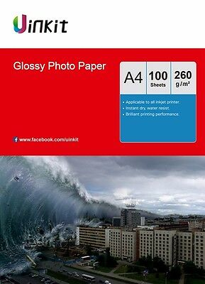 A4 Photo Paper High Glossy Inkjet Paper Printing 260Gsm - 100 Sheets Uinkit