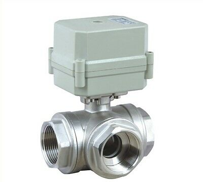 BSP1'' Stainless L Type Electrical Motorized Ball Valve AC110-230V,3-Way,CR2-01
