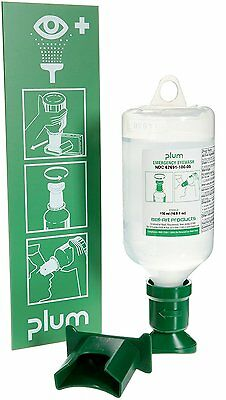 PLUM F24880-4001 Open Eye Wash Station; 1 Bottle, 500ml Sterile Saline