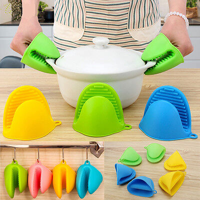 Silicone Heat Resistant Gloves Clips Anti-slip Pot Bowel Holder Baking Mitts