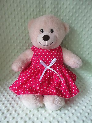 """DRESS  suitable Build a Bear  """" Hot Pink white Stars  """""""