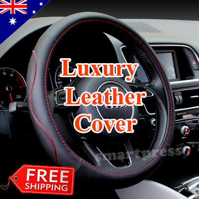 Luxury Black Sporty Auto Car Steering Wheel Cover PU Leather Universal 38cm
