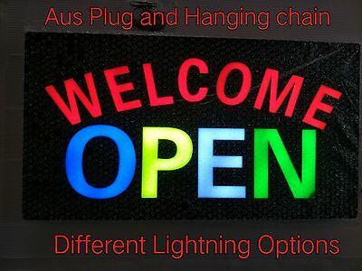 NEW 12V LED Neon WELCOME OPEN Bright Neon Sign for Business Shop 48cm*24cm