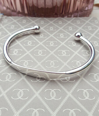 Gents Solid Sterling Silver Torque ID Bangle - Classic Men's Bangle
