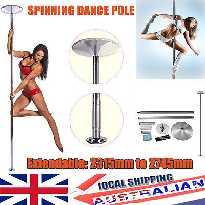 Dance Pole 45mm Dancing Fitness Static Stripper Spinning Exercise 2 Extensions