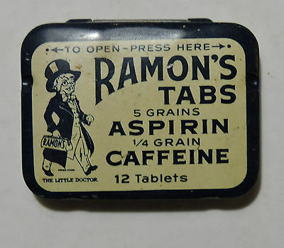 Antique Ramon's Metal Tin Pill Tablet Container, Aspirin, Full