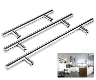 5/10/20Pcs Satin Steel Brushed T Bar Handles Kitchen Door Furniture Cupboard