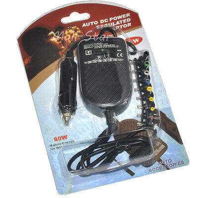 Auto DC Power Regulated Adaptor Car Charger 80W for Laptop Notebook 12V Volt DC