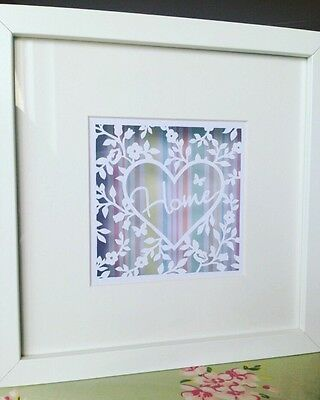 Home Paper Cut. Handmade To Order, Box Framed, New Home, Housewarming Gift.