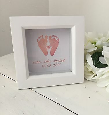 Handcrafted And Personalised New Baby Box Frame Christening Gift