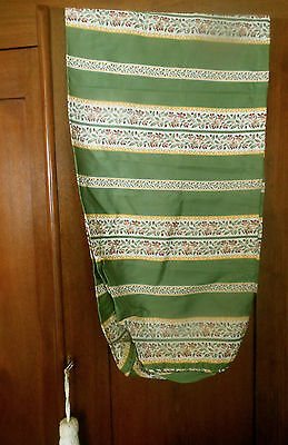 Vintage French Green Lisere Floral Stripe Satin Brocade Fabric Lg. Pillow Roll