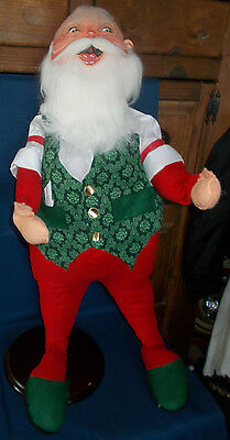 """Vintage 1991 Annalee 30"""" Tall Santa on Wood Round Base ~ Excellent Condition"""