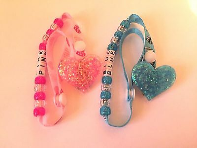 Personalised Sparkly Heart Dummy / Pacifier Soother Strap Clip NEW Pink or Blue