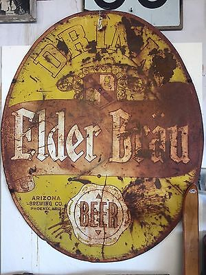 """Rare Antique Large Tin 1940""""s Elder Brau Beer Sign Az Brewing Co. A1 Beer Wow !"""