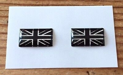 2 x MINIATURE UNION JACK FLAG Stickers/Decals CHROME/BLACK HIGH GLOSS DOMED GEL