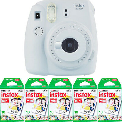 Fujifilm instax mini 9 Instant Film Camera (Smokey White) + 50 Mini Prints