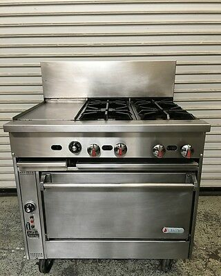"36"" Combo Range with 4 Burners Griddle and Oven Jade Range #6630 Commercial"