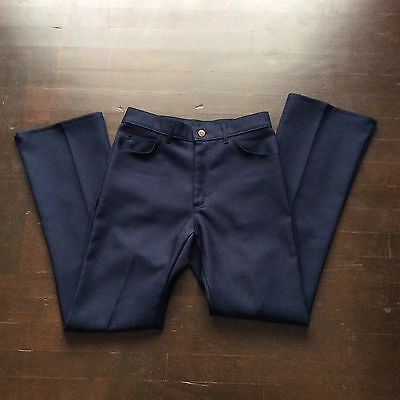 Vtg Navy Blue Lee Polyester Flare Bell Bottom Pants Tag 31x32 Measures 28x30