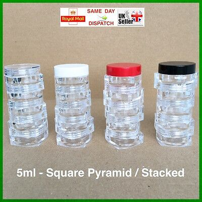 "SQUARE 5ml SCREW TOP JAR STACKING ""ASYMMETRIC"" POT CONTAINER LIP BALM CRAFT FAST"