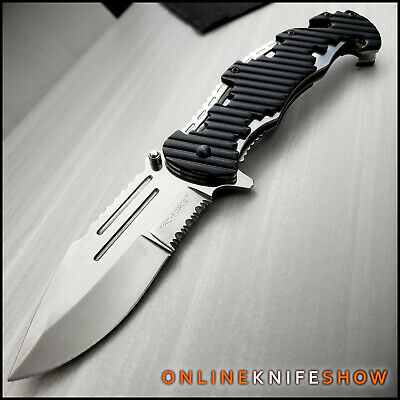 Spring TACTICAL Assisted Open Pocket Knife CLEAVER RAZOR FOLDING Silver Blade
