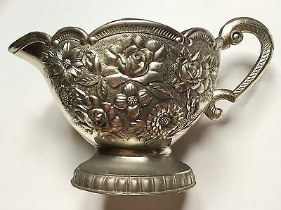 Vintage Silver Roses Ornate Metal Creamer with White Enamel Lining - 1950's