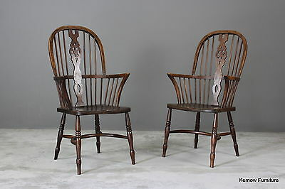 Pair Antique Elm Windsor Armchairs Kitchen Side Chairs