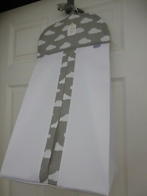 Bespoke Baby Nappy Stacker - Grey/White 'Clouds' 100% Cotton Fabric Trim - BNWT