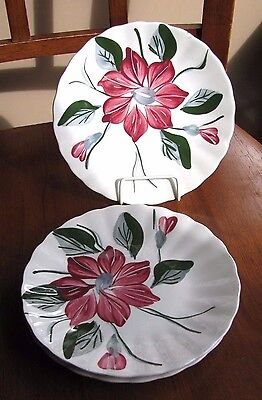VINTAGE Blue Ridge Pottery Southern Pottery Red POINSETTIA LOT 3 Bread Plates