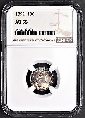 1892 P Silver Barber Dime NGC AU58 Great Color!