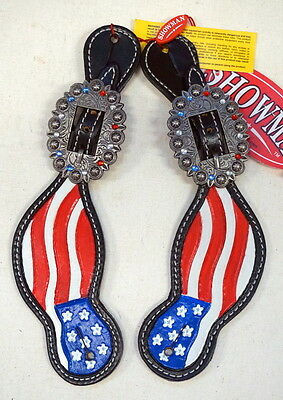 Showman Hand Painted Adult Size American Flag Western Spur Straps