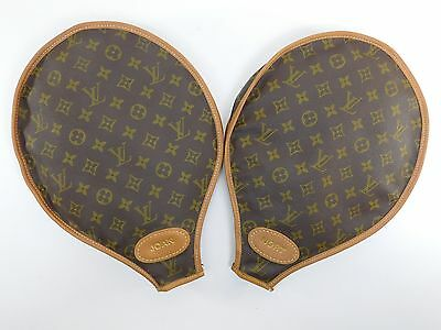 Pair of Authentic Louis Vuitton Tennis Racket Racquet Cover Monogram Canvas NJ85
