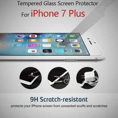 "Scratch Resistant Tempered Glass Screen Protector For Apple iPhone 7 Plus (5.5"")"