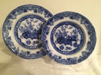 Set Of Two Matching Staffordshire Oriental Themed Flow Blue Plates, Ridgways