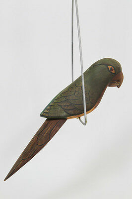 Vintage Hanging Wooden Tropical Bird On Perch, Parrot Jungle Painted Folk Art