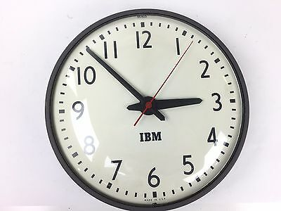 "IBM 13"" School Metal Glass Bubble Face Wall Clock 95925 With Plastic On Back"